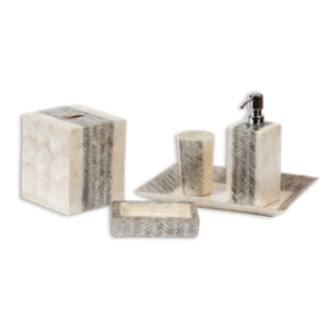 Decorating with capiz shell accessories belle and june - Capiz shell bathroom accessories ...