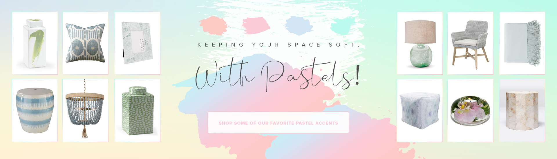 Decorate your space with Pastel colors at www.belleandjune.com