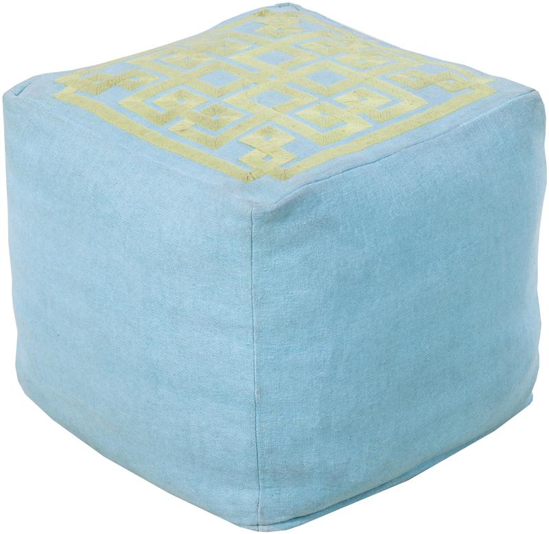 Baby Blue and Yellow Square Pouf