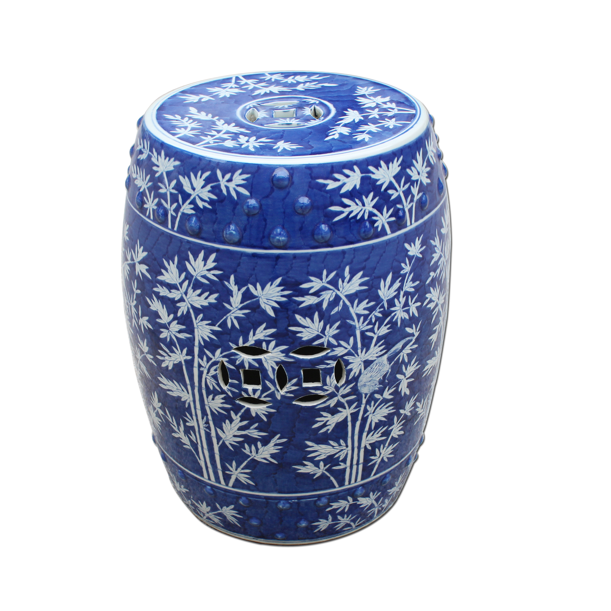 Blue and White Bamboo Magpie Garden Stool