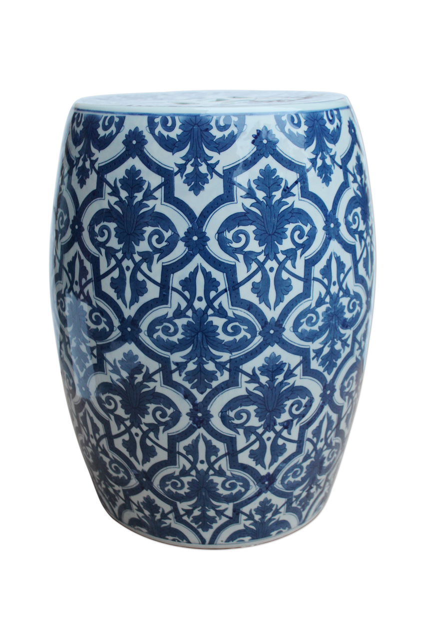 Blue & White Paris Floral Garden Stool