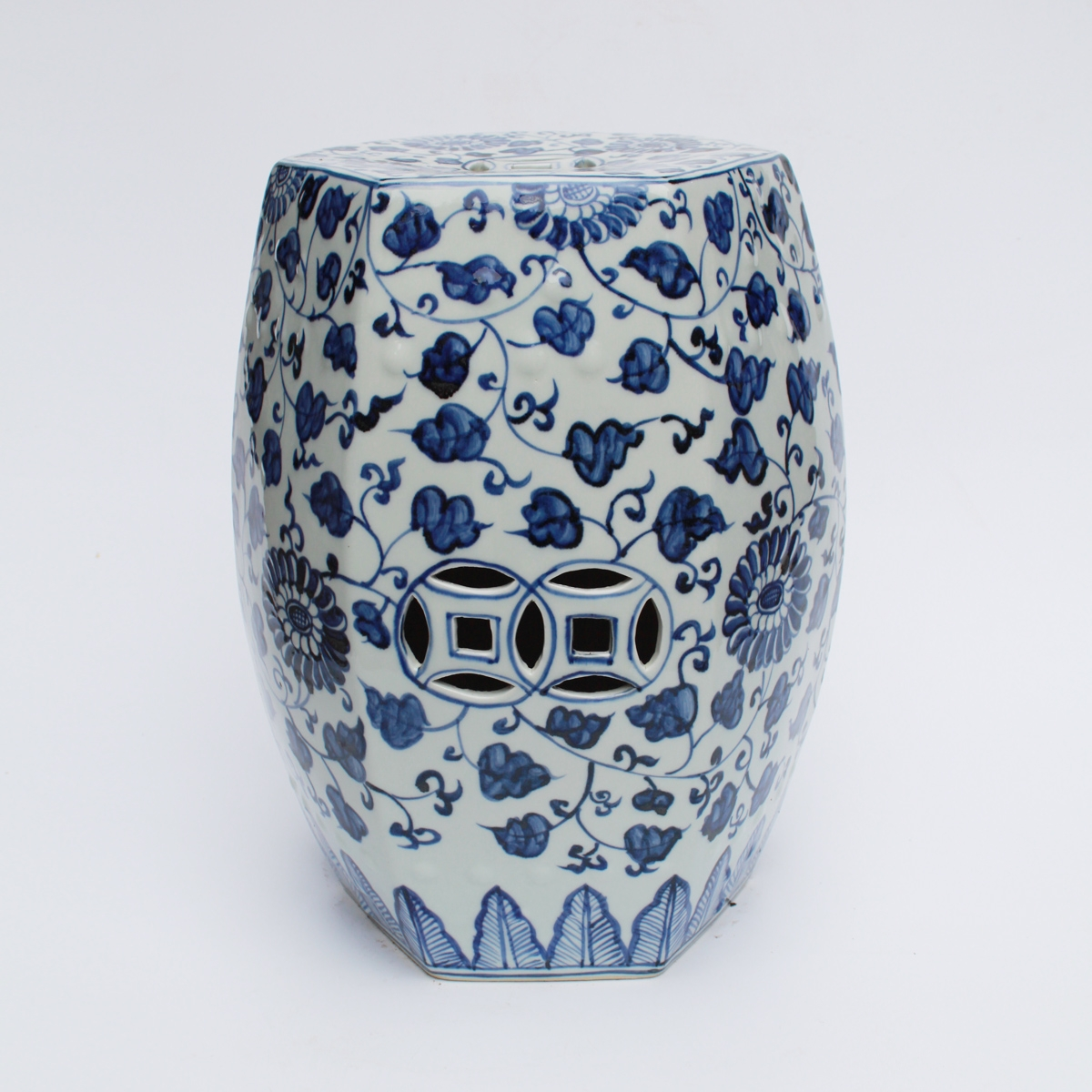 Blue & White Grape Pattern Hex Garden Stool
