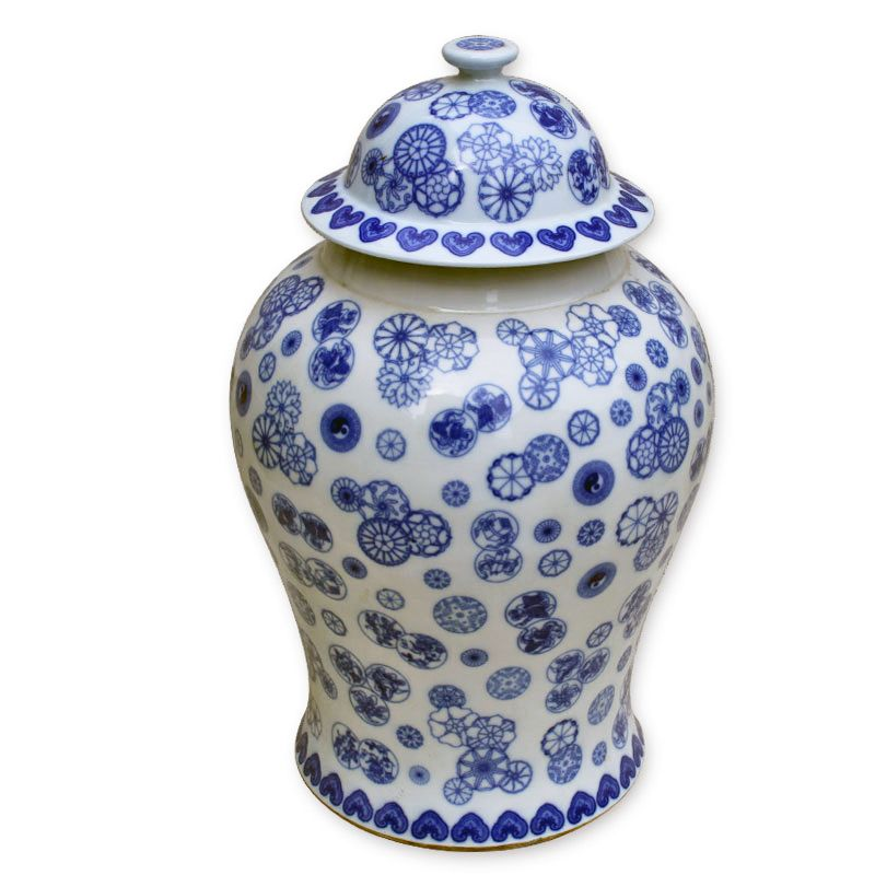Blue and White Ball Flower Temple Jar