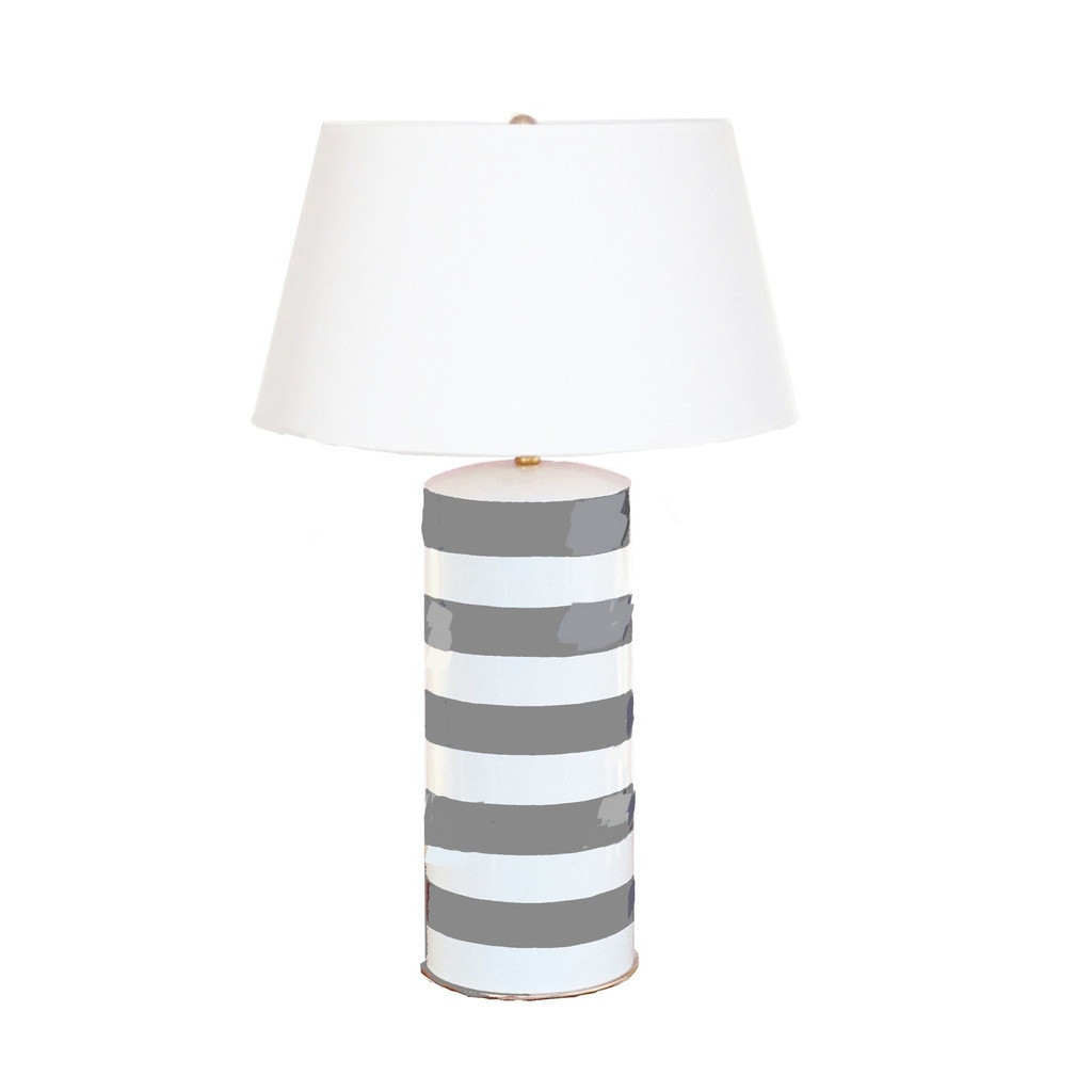 Grey Striped Stacked Lamp