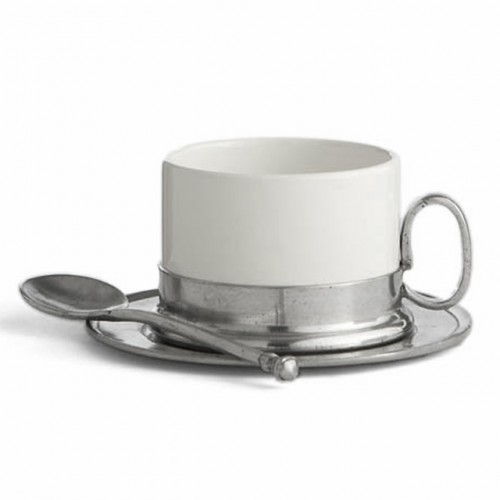 Arte Italica Tuscan Cappuccino Cup and Saucer with Spoon