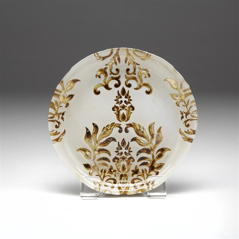 Damask Canape Plate Ivory and Gold