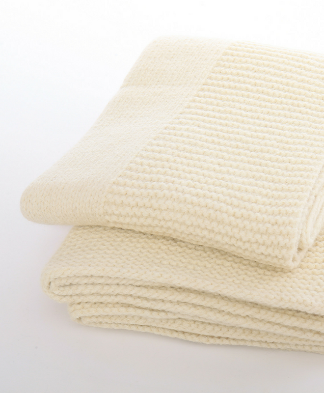 Abrazo Hand Knit Blanket Throw-(107)-Cream