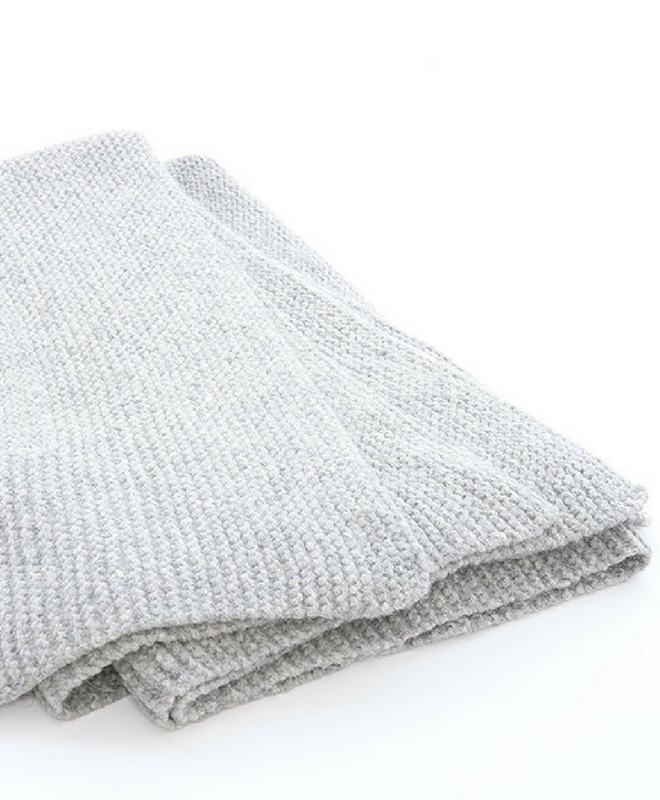 Abrazo Hand Knit Blanket Throw-Silver