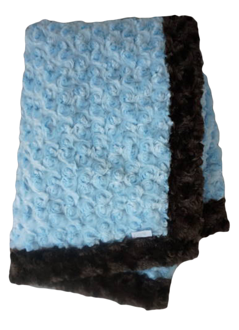 Baby Blue and Chocolate Lux Minky Baby Blanket