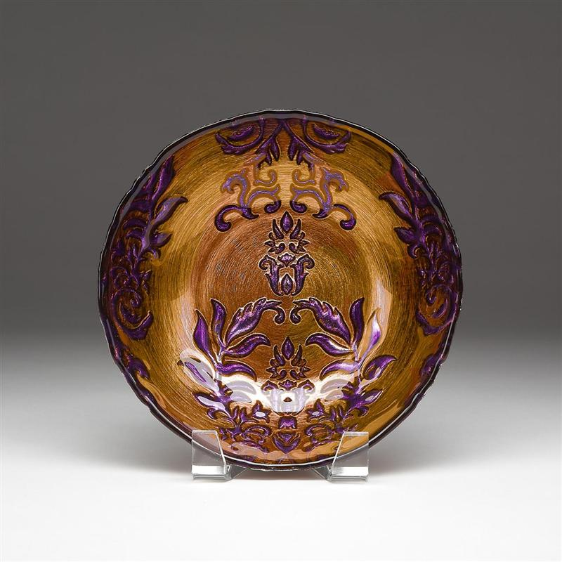 Damask Bowl Copper Purple
