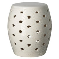 White Wave Garden Stool