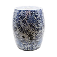 Blue and White Blooming Flowers Garden Stool