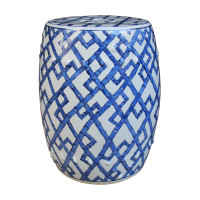 Blue and White Bamboo Joints Garden Stool