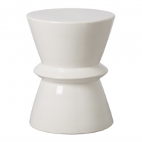 White Zip Garden Stool from belleandjune.com | decorative pillows