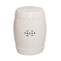 White Drum Garden Stool