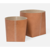 Salo Aged Camel Leather Basket (Set of 2) from belleandjune.com | Baskets and Storage