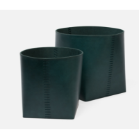 Salo Teal Leather Basket (Set of 2) from belleandjune.com | Baskets and Storage