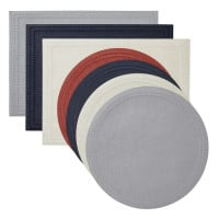 Paloma Navy Round Placemats S/4 from belleandjune.com | tabletop