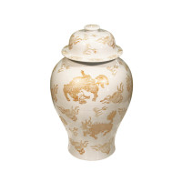 White and Gold Kylin Temple Jar