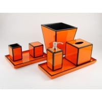 Orange with black Trim Bath Set from belleandjune.com | Bathroom Accessories