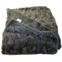 Charcoal Lux Faux Fur Throw Blanket