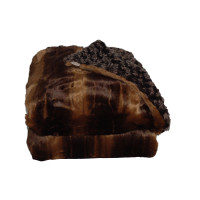 Chinchilla Brown Striped Faux Fur Throw Blanket