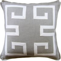 Greek Key Fretwork Flax Pillow