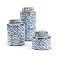 Thelma Blue and White Kitchen Canisters from belleandjune.com | Decorative Canisters