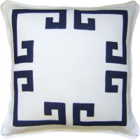 Aegean Fretwork Indigo and White Pillow