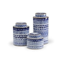 Blue and White Porcelain Canisters from belleandjune.com | Decorative Canisters