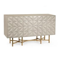 Ghost White Hand Carved Credenza