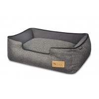 Houndstooth Gray Lounge Pet Bed