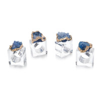Blue and Gold Napkin Rings (Set of 4)