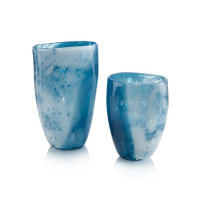Skies of the Blue Glass Vases (Set of 2)