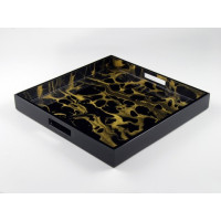 Gold Marble Lacquer Serving Tray from belleandjune.com | Serving Tray