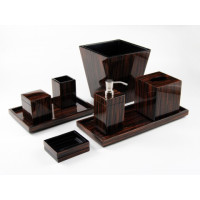 Macassar Ebony Lacquer Bath Set from belleandjune.com | Bathroom Accessories