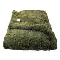Olive Green Lux Faux Fur Throw Blanket