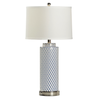Betsy Blue and White Diamond Lamp Lamp | Table Lamp