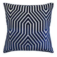 Buy Vanderbilt Velvet Blue Print Decorative Pillow from belleandjune,com | Decorative Pillows