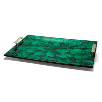 Mother of Pearl Green Rectangular Tray from belleandjune.com | tabletop