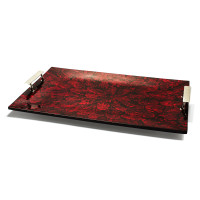 Mother of Pearl Red Rectangular Tray from belleandjune.com | tabletop