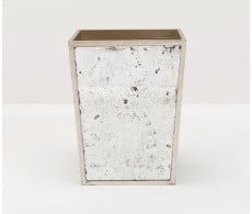 Atwater Waste Basket Square - Silver Leaf