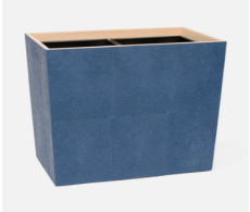 Manchester Navy Double Waste Basket Rectangular Tapered