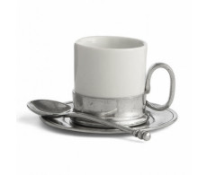 Arte Italica Tuscan Espresso Cup and Saucer with Spoon