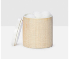 Maranello Beige White Canister from belleandjune.com | Bath Accents