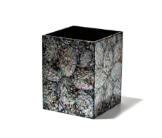 Mother of Pearl Wastebasket from belleandjune.com | Bathroom accents