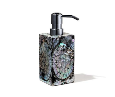 Mother of Pearl Soap Dispenser from belleandjune.com | Bathroom accents