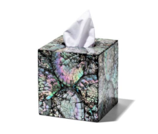 Mother of Pearl Tissue Box from belleandjune.com | Bathroom accents