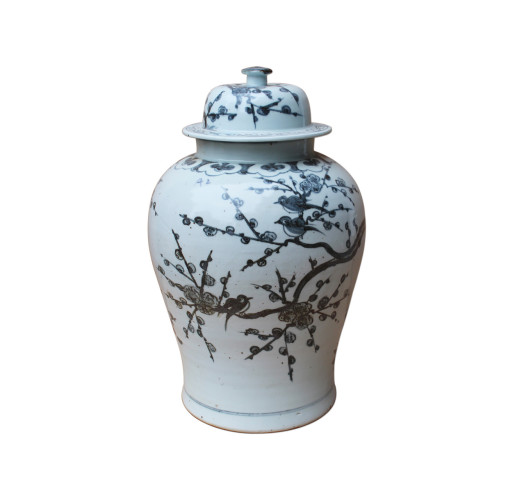 Black & White Yuan Dynasty Magpie Plum Blossom Temple Jar
