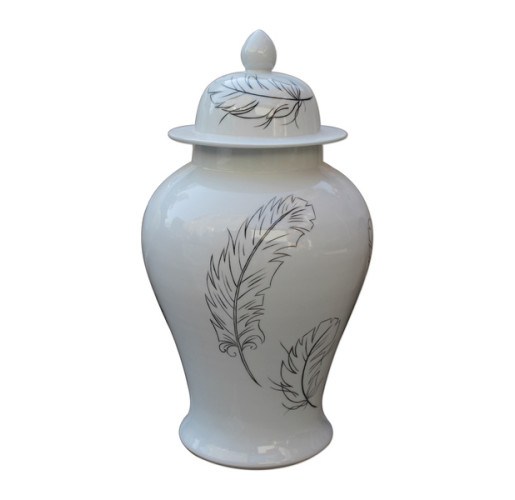 White Temple Jar With Black Feathers